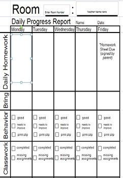 Daily Homework and Behavior Chart