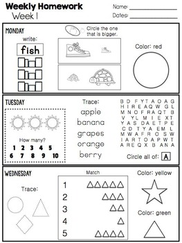 Kindergarten Homework {Year-Long Daily Assignments}