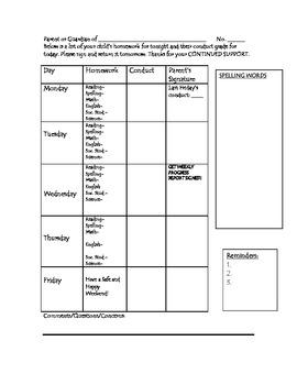 Daily Homework/Conduct Sheet