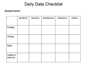Daily IEP Data Sheet Checklist