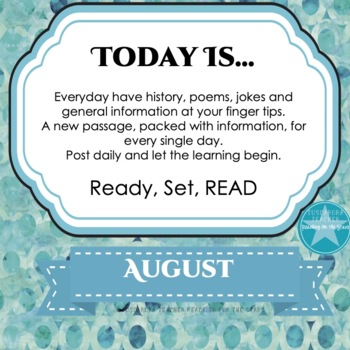 Today Is Daily Information & Reading as Part of Your Daily Routine for August