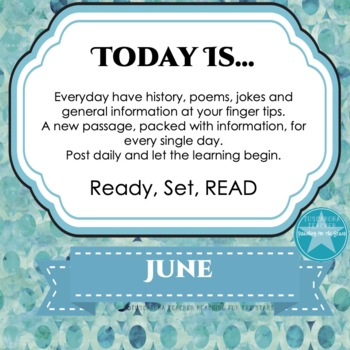 Today Is Daily Information & Reading as Part of Your Daily Routine for June