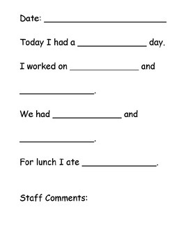 Daily Journal Communication Template by ASDTeach TPT | TpT