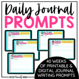 Daily Journal Prompts | Writing Prompts Google Slides | Di
