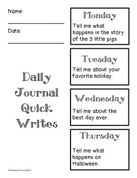 Daily Journal Quick Writes - Narrative
