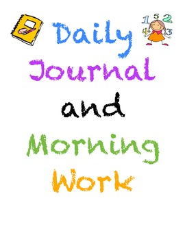 Daily Journal and Morning Work Packet