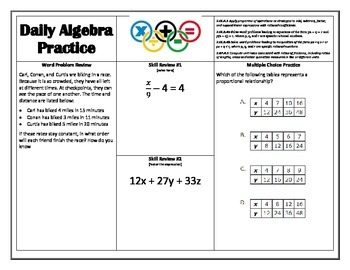 Middle School Common Core Daily Review