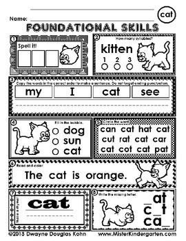 Daily Kindergarten Foundational Skills Worksheets: CVC Words