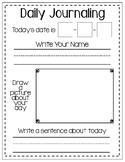Daily Kindergarten Journal Page l Daily Journaling Worksheet