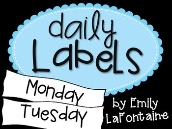 Blue Days of the Week Labels