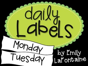 Green Days of the Week Labels