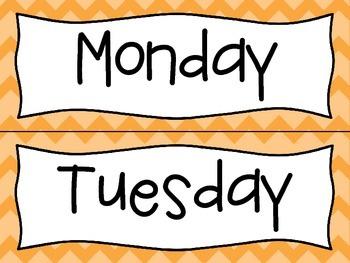 Orange Days of the Week Labels
