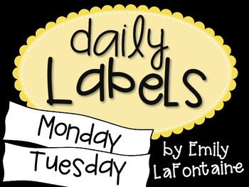 Yellow Days of the Week Labels