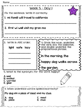 Daily Language Review - Weeks 5-8 in English