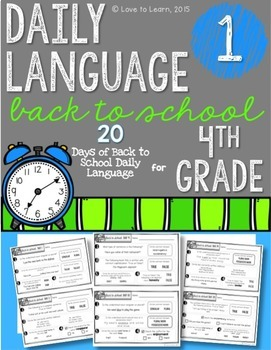 Daily Language 1 (Back to School) Fourth Grade