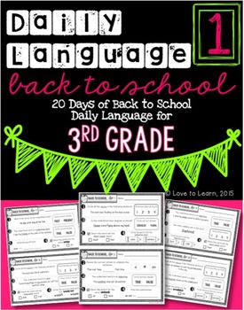 Daily Language 1 (Back to School) Third Grade