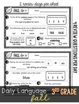 Daily Language 2 (Fall) Third Grade