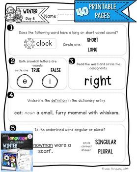 Daily Language 3 (Winter) Second Grade