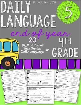 Daily Language 5 (End of Year Review) Fourth Grade