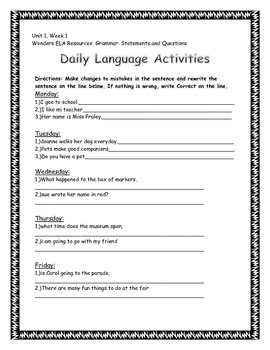 Daily Language Activities