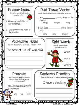 Language Arts Daily Practice for Second Grade (December and January)
