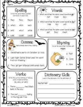 Language Arts Daily Practice for Second Grade (October & November)