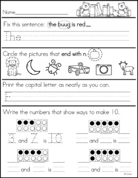 First Grade Morning Work - Distance Learning Part 1