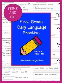 Daily Language Practice-Common Core Aligned- Morning Work-Packet 1-Bell Ringer