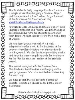 Daily Language Practice-Common Core Aligned- Morning Work-Freebie
