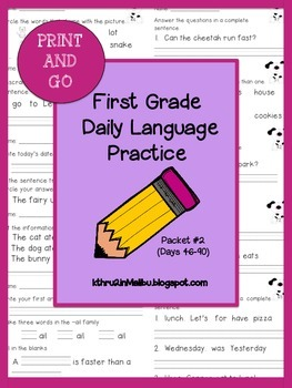 Daily Language Practice-Common Core Aligned-Morning Work-Packet 2-Bell Ringer
