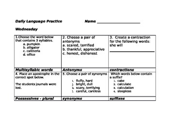 Daily Language Practice Third Grade ( Set 3)