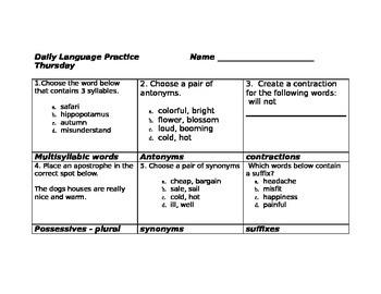 Daily Language Practice Third Grade ( Set 3)