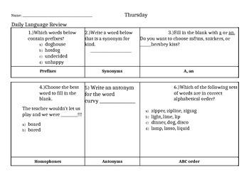 Daily Language Practice Third Grade    ( SET 4)