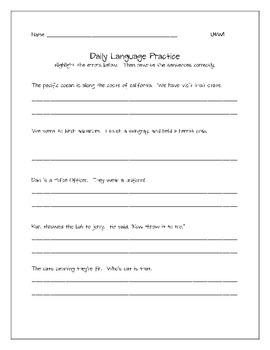 Daily Language Practice Unit 4