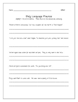 Daily Language Practice Unit 5