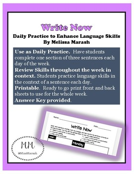 "Daily Language Practice ""Write Now"" Week 1"