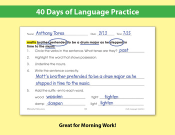 Daily Language Practice for Fourth Grade: Days 1-40 {Freebie}