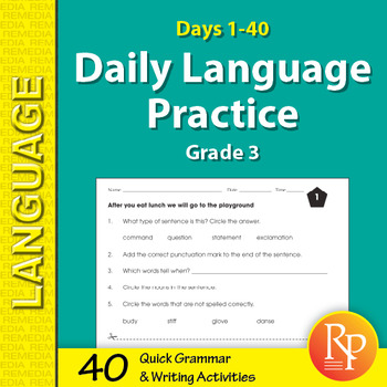 Daily Language Review 3rd Grade Worksheets Teaching