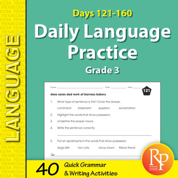 Daily language practice grade 3 teaching resources teachers pay daily language practice for third grade days 121 160 fandeluxe Gallery