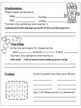 Morning Work - Third Grade