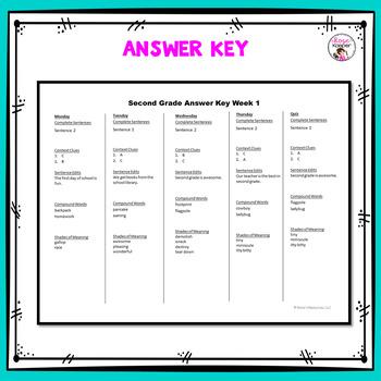 Daily Language Spiral Review Morning Work | Homework - 2nd Grade