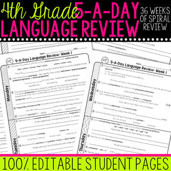 4th Grade Daily Language Spiral Review Morning Work Editable