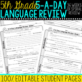 5th Grade Daily Language Spiral Review Morning Work Editable