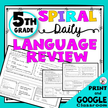 Daily Language Spiral Review Morning Work | Homework - 5th Grade