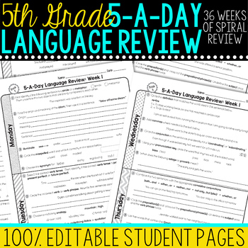 5th Grade Daily Language Spiral Review | Morning Work