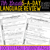 7th Grade Daily Language Review Morning Work Spiral Review