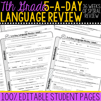 7th Grade Daily Language Review  Morning Work
