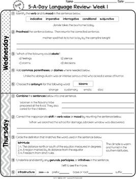 5th grade daily math morning work pdf