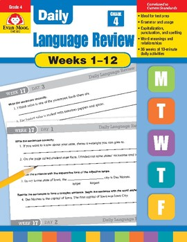 Daily Language Review Bundle, Grade 4, Weeks 1–12