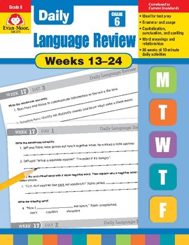 Daily Language Review Bundle, Grade 6, Weeks 13-24